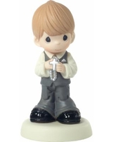 May His Light Shine In Your Heart Boy First Communion Figurine - Multi
