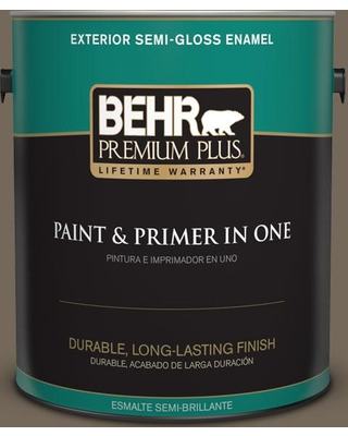BEHR PREMIUM PLUS 1 gal. #720D-6 Toasted Walnut Semi-Gloss Enamel Exterior Paint and Primer in One