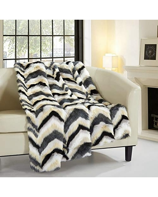 """Chic Home Orna Throw Blanket New Faux Fur Collection Cozy Super Soft Ultra Plush Micromink Backing Decorative Striped Chevron Design50"""" x 60"""" 50 x 60 Black"""