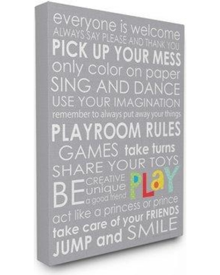 """Harriet Bee 'Everyone Is Welcome Playroom Rules' Textual Art Print Wrapped Canvas HRBE2587 Size: 16"""" H x 20"""" W Format: Wrapped Canvas"""