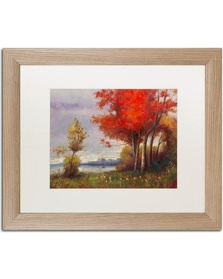 """Trademark Art 'Landscape with Red Trees' Framed Painting Print MA0810-T1 Matte Color: White Size: 16"""" H x 20"""" W x 0.5"""" D"""