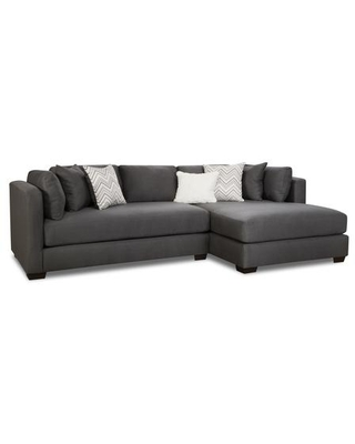 """Ohio Collection 185500-3784-RSFCH-SEC-PC 122"""" 2 pc Right Side Facing Sectional with Track Arms Decorative Pillows Block Feet Fabric Upholstery in"""