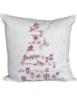 The Holiday Aisle Christmas Tree 100% Cotton Throw Pillow THDA4648 Color: Red