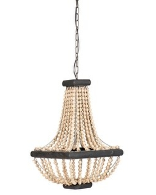 Wood & Metal Framed Chandelier with Wood Bead Draping (White-Washed)