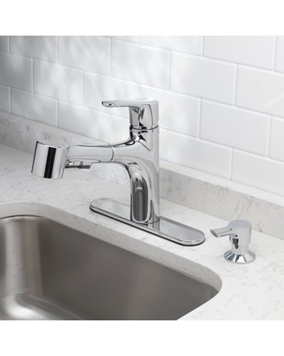 OakBrook Tucana One Handle Kitchen Faucet with Pullout Sprayer, and Soap Dispenser