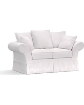 "Charleston Slipcovered Loveseat 71"", Polyester Wrapped Cushions, Twill White"