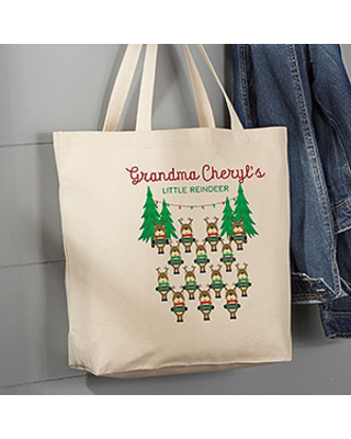 Reindeer Family Personalized Large Canvas Tote Bag