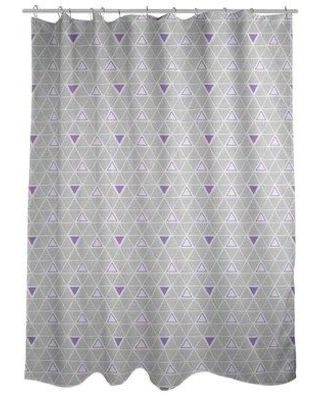 ArtVerse Patricia Geoffrey Classic Hand Drawn Triangles Single Shower Curtain GEO0-SCDHOS Color: Purple Accent