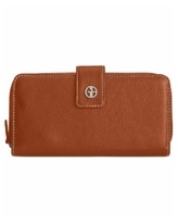 Giani Bernini Softy Leather All In One Wallet, Created for Macy's - Cognac/Silver