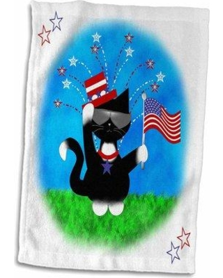 East Urban Home Irena Cute Patriotic Tuxedo Cat 4th of July Hand Towel W000512110