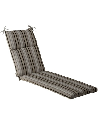 """Pillow Perfect Outdoor/Indoor Getaway Stripe Onyx Chaise Lounge Cushion, 72.5"""" x 21"""", Black"""