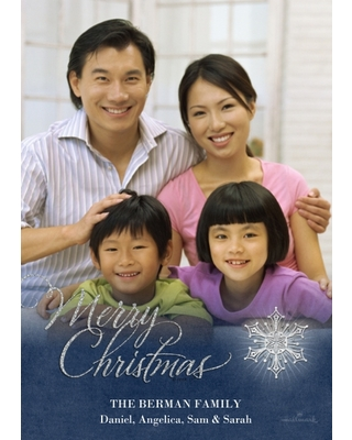 Christmas Photo Cards 5x7 Cards, Premium Cardstock 120lb, Card & Stationery -Merry Christmas Snowflake