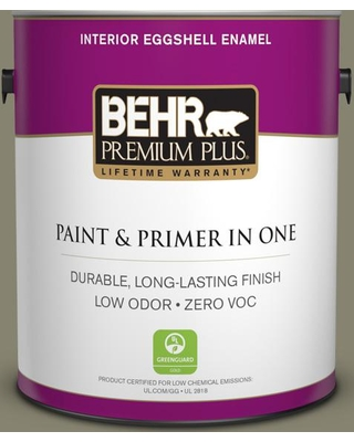 BEHR PREMIUM PLUS 1 gal. #400F-6 Grasshopper Wing Eggshell Enamel Low Odor Interior Paint and Primer in One