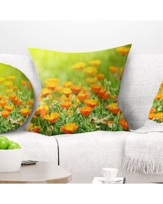"""Floral Marigold Flowers Pillow East Urban Home Size: 16"""" x 16"""", Product Type: Throw Pillow"""