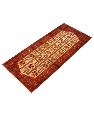 """One-of-a-Kind Hand-Knotted 1980s 4'2"""" x 9'4"""" Runner Wool Area Rug in Cream"""