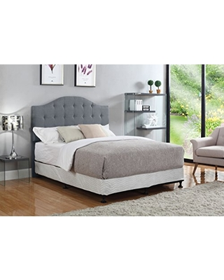 Container Furniture Direct Brady Collection Modern Button Tufted Linen Fabric Upholstered Bedroom Headboard, Grey