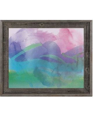 "Click Wall Art Mauve Cloud Silhouettes Framed Painting Print on Canvas CCEE2238 Size: 23.5"" H x 33.5"" W x 1"" D"