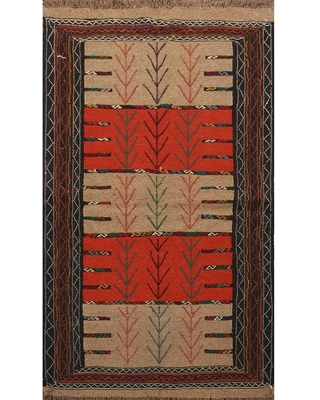 "Tribal Sumak Kilim Persian Wool Area Rug Flat-Woven Foyer Carpet - 3'9"" x 5'11"" (3'9"" x 5'11"" - Multi-Colored)"