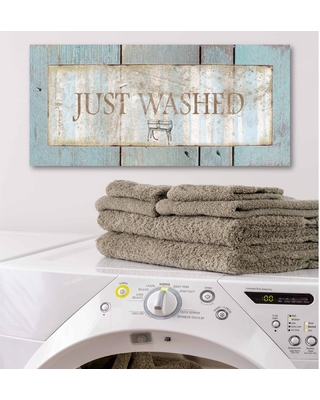 """Courtside Market 12 in. x 24 in. """"Laundry Room III"""" Canvas Printed Wall Art, Blue"""