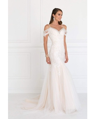 Elizabeth K Bridal - GL1513 Lace Appliqued Off Shoulder Straps Bridal Dress