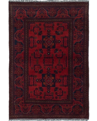 Hand-knotted Finest Khal Mohammadi Red Wool Rug ECARPETGALLERY - 3'4 x 4'11