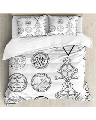 Ambesonne Occult Spiritual Set with Circular Pentagram Icons Hidden Knowledge of Cosmos Print Duvet Cover Set nev_19368_ Size: Queen
