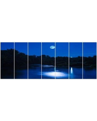 DesignArt 'River at Night with Fog' Photographic Print Multi-Piece Image on Canvas PT15341-732