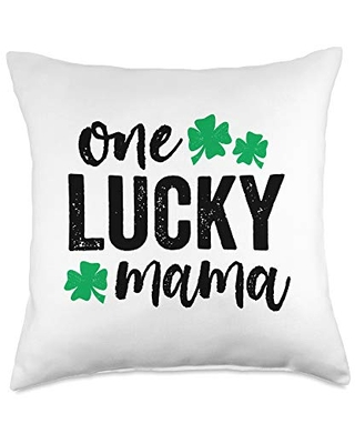 Detour Shirts One Lucky Mama St Patricks Day Gift Green Mom Light Throw Pillow, 18x18, Multicolor