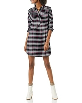 Amazon Brand - Goodthreads Women's Flannel Long Sleeve Relaxed Fit Popover Shirt Dress, Black Pink Shirting Plaid, X-Small
