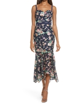 Chi Chi London Larnia Floral Lace Bodycon Gown, Size 6 in Navy at Nordstrom