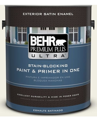 BEHR Premium Plus Ultra 1 gal. #PPU10-13 Snowy Pine Satin Enamel Exterior Paint and Primer in One