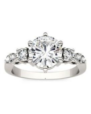 Charles & Colvard White Gold 2.22 ct. t.w. Lab Created Moissanite Engagement Ring in 14K White Gold