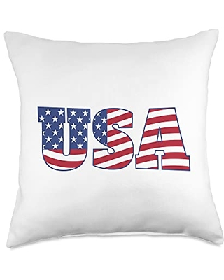 Vintage USA 4th of July Patriotic American Flag USA US Flag Patriotic 4th Of July America T-Shirt Throw Pillow, 18x18, Multicolor
