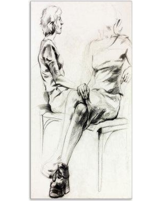 """East Urban Home 'Woman Sketch' Graphic Art Print on Wrapped Canvas ETUC2504 Size: 32"""" H x 16"""" W x 1"""" D"""