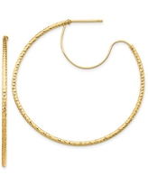 Primal Gold 14 Karat Yellow Gold 1.5x45mm Diamond-cut with Polished wire Hoop Earrings
