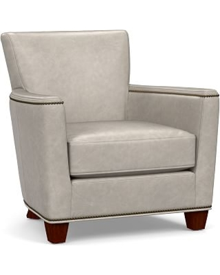 Gentil Irving Square Arm Leather Armchair With Bronze Nailheads, Polyester Wrapped  Cushions, Statesville Pebble