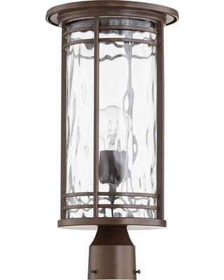 Quorum Larson 19 inch Outdoor Post Light in Oiled Bronze with Clear Hammered Glass