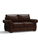 """Pearce Leather Loveseat 73"""", Down Blend Wrapped Cushions, Leather Legacy Tobacco"""