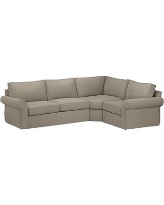 Pearce Roll Arm Slipcovered Left Arm 3-Piece Wedge Sectional, Down Blend Wrapped Cushions, Performance Everydayvelvet(TM) Carbon