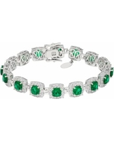 Sterling Silver Simulated Emerald & Lab-Created White Sapphire Halo Bracelet, Women's, Green