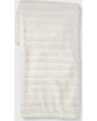 Shop Deals For Textured Faux Fur Throw Blanket Cream Project 62