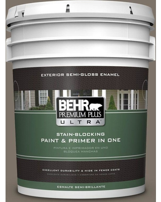 BEHR ULTRA 5 gal. Home Decorators Collection #HDC-NT-05 Aged Olive Semi-Gloss Enamel Exterior Paint & Primer