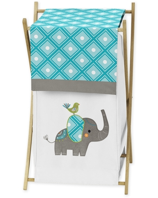 Sweet Jojo Designs Laundry Hamper for the Mod Elephant Collection (Turquoise Blue, Teal, Green, Gray, Orange, White)