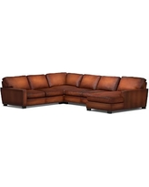 Turner Square Arm Leather Left Arm 4-Piece Chaise Sectional with Bronze Nailheads, Down Blend Wrapped Cushions, Burnished Saddle