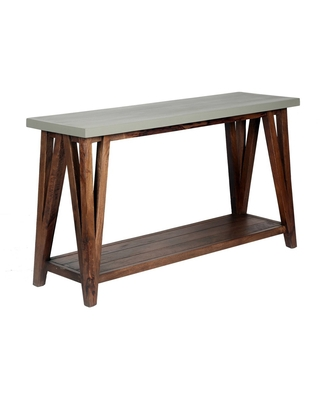 """52"""" Brookside Console Media Table Concrete Coated Top and Wood Light Gray/Brown - Alaterre Furniture"""