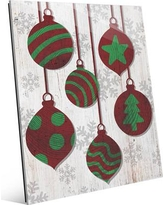 """Click Wall Art 'Red with Green Tree Ring Ornaments' Graphic Art on Plaque IXM0000031GLS Size: 10"""" H x 8"""" W x 1"""" D"""