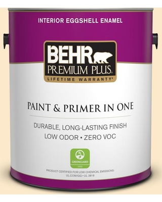 BEHR PREMIUM PLUS 1 gal. #YL-W02 Spanish Lace Eggshell Enamel Low Odor Interior Paint and Primer in One