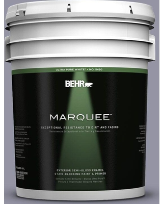 BEHR MARQUEE 5 gal. #640F-5 Ash Violet Semi-Gloss Enamel Exterior Paint and Primer in One