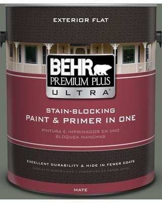 BEHR Premium Plus Ultra 1 gal. #bxc-72 Evergreen Trail Flat Exterior Paint and Primer in One, Greens