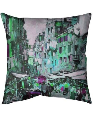"East Urban Home Market in Naples Throw Pillow X112734109 Size: 20"" x 20"" Fill Material: Poly Fill Color: Green"